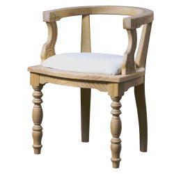 Carved rustic armchair seat pretapizado