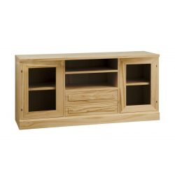 Table T.V. 2 glass doors 2 drawers 2 holes