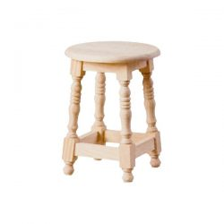 Low turning round seat stool wood