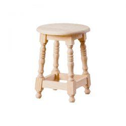 Low turning round seat stool wood