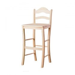 High stool with backrest seat wood