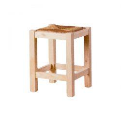 Taburete bajo liso asiento anea pino