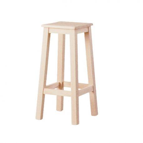Taburete alto liso asiento madera
