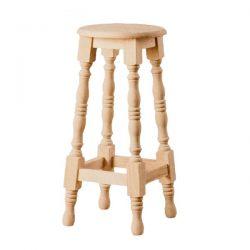 Taburete alto torneado redondo asiento madera